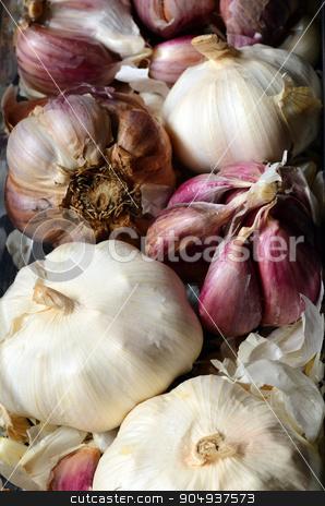 raw pink garlic  stock photo, Close up image of raw pink garlic  by sutike