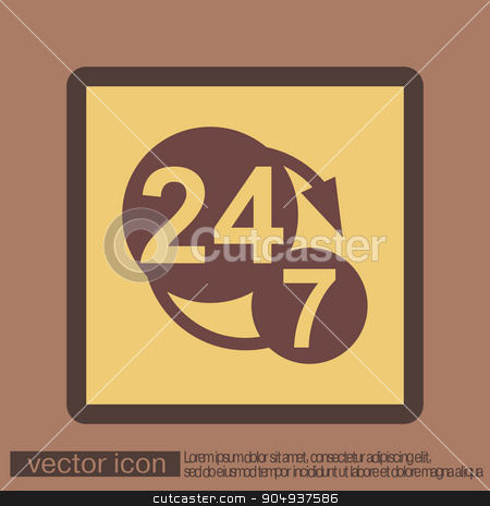 24 7 character . 247 . open 24 hours a day and 7 days a week icons stock vector clipart, 24 7 icon. open 24 hours a day and 7 days a week icons by LittleCuckoo