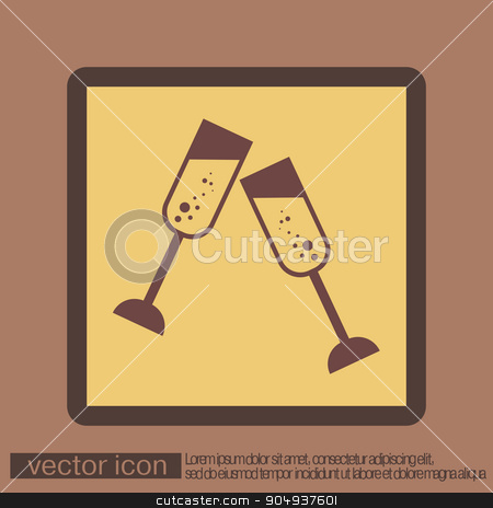 champagne glass icon stock vector clipart, champagne glass icon by LittleCuckoo