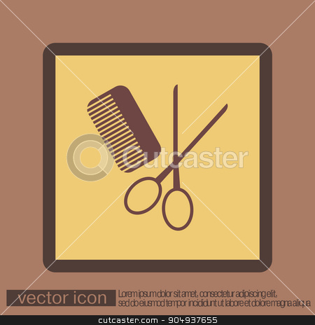 comb, scissors. barbershop. symbol of hair and beauty salon stock vector clipart, comb and scissors. barbershop. symbol of hair and beauty salon by LittleCuckoo