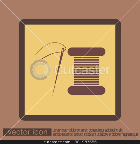 spool of thread and needle. a symbol of fashion, sewing. stock vector clipart, spool of thread and needle. a symbol of fashion and sewing. by LittleCuckoo
