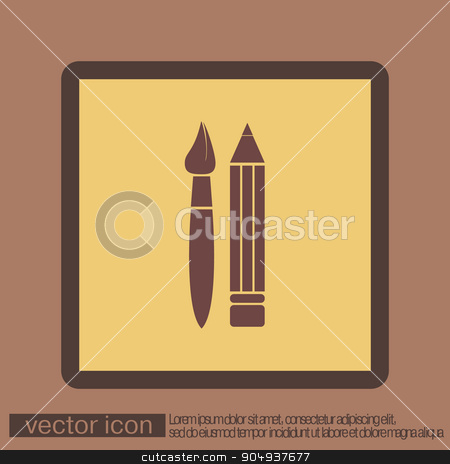 Brush and Pencil. drawing characters.  stock vector clipart, Brush and Pencil. drawing characters. Education sign. symbol icon drawing and art by LittleCuckoo