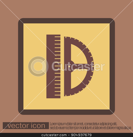 ruler and protractor. characters geometry.  stock vector clipart, ruler and protractor. characters geometry. Education sign. symbol icon drawing and geometry by LittleCuckoo
