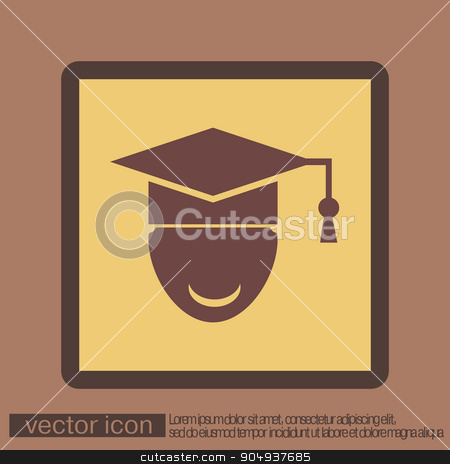 graduate hat avatar. symbol icon college or institute. graduation stock vector clipart, graduate hat avatar sign. the head of the student learner. Education sign, symbol icon college or institute. graduation by LittleCuckoo