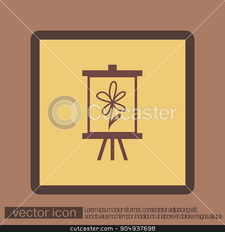 Easel with picture. Icon painting. school symbol stock vector clipart, Easel with picture. Icon painting. school symbol by LittleCuckoo
