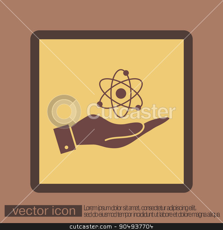 hand holding the atom, molecule. stock vector clipart, hand holding the atom, molecule. the symbol of physics and chemistry. symbol icon of physics or chemistry . the study of science by LittleCuckoo