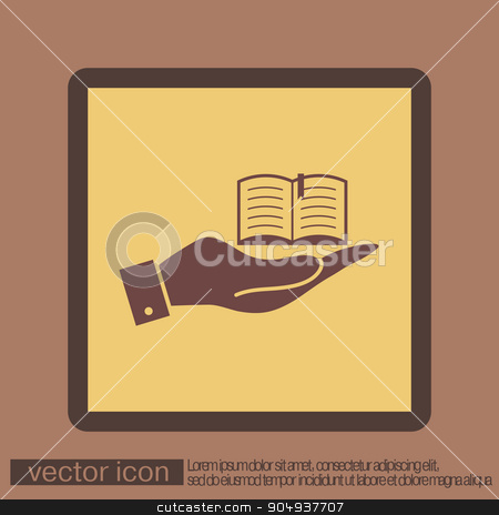hand holding a open book sign stock vector clipart, hand holding a open book sign. Education sign, symbol icon book with a bookmark or notebook . by LittleCuckoo