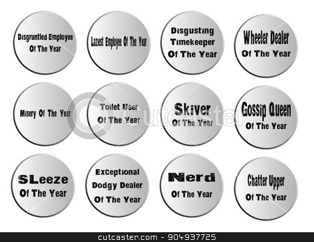 Of The Year Badges stock vector clipart, A collection of of the year work place comedy buttons by Kotto