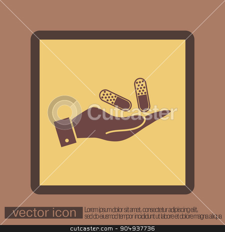 hand holding a pill tablet stock vector clipart, hand holding a pill tablet sign. symbol of medicine and health. icon pills and tablets . by LittleCuckoo