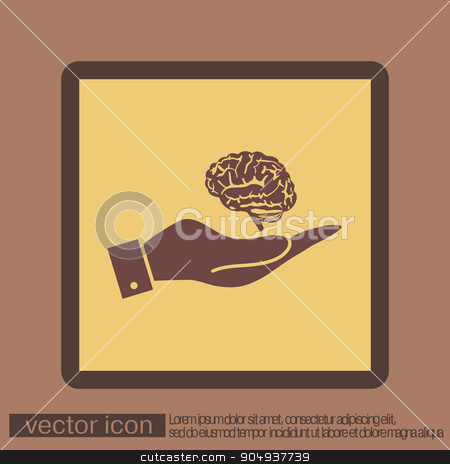 hand holding a Brain.  Mind and science stock vector clipart, hand holding a Brain.  Mind and science by LittleCuckoo