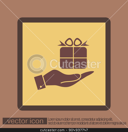 hand holding a Holiday Gift Box Icon. Vector illustration   stock vector clipart, hand holding a Holiday Gift Box Icon. Vector illustration  by LittleCuckoo