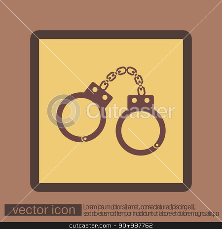 handcuffs. symbol of justice . police icon stock vector clipart, handcuffs icon. symbol of justice . police icon by LittleCuckoo