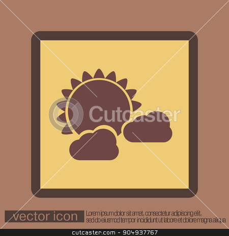 weather icon, sun behind the cloud stock vector clipart, weather icon, sun behind the cloud by LittleCuckoo