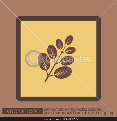 branch with leaves. symbol icon geometry. teaching natural history stock vector clipart, branch with leaves. the symbol of biology. symbol icon geometry. teaching natural history by LittleCuckoo