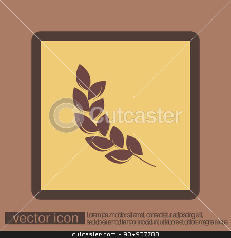 wheat spike ears icon stock vector clipart, wheat spike ears icon by LittleCuckoo