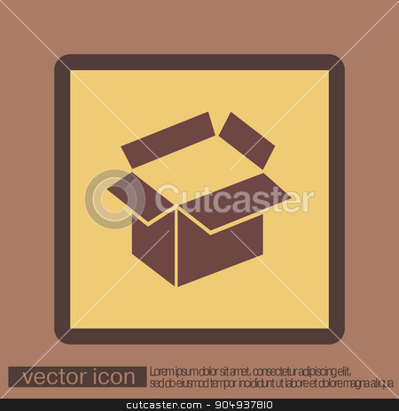 Opened cardboard box stock vector clipart, Opened cardboard box  icon by LittleCuckoo