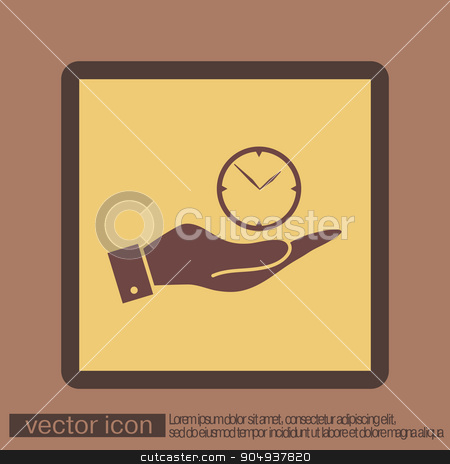 hand holding a clock, Icon watch. symbol time stock vector clipart, hand holding a clock. watch sign, Icon watch. symbol time by LittleCuckoo
