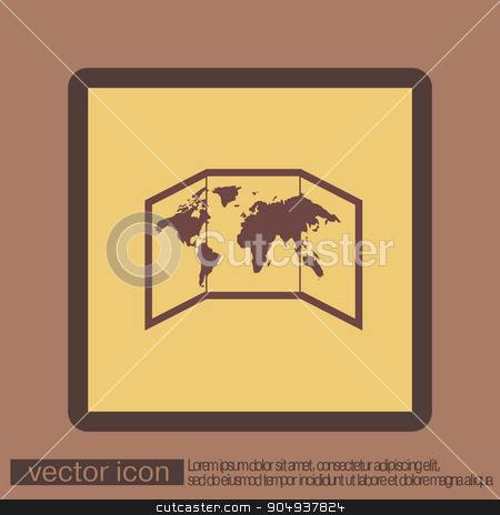 World map-countries stock vector clipart, World map-countries icon by LittleCuckoo