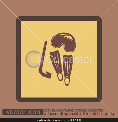 diving mask, fins and snorkel. diving symbol. sea holiday icon stock vector clipart, diving mask, fins and snorkel. diving symbol. sea holiday icon by LittleCuckoo