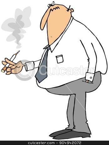 Businessman smoking a cigarette stock photo, Illustration depicting a businessman smoking a cigarette. by Dennis Cox
