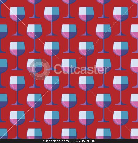 pop art red wine glass seamless pattern stock vector clipart, vector colored pop art style red wine glass seamless pattern on purple background  by Alexey Kurenkov