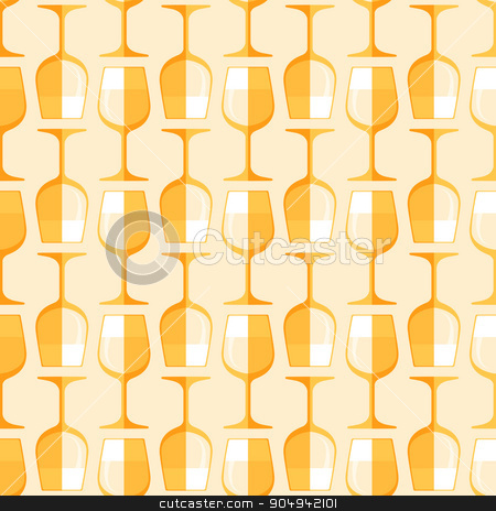 colored white wine glass seamless pattern stock vector clipart, vector gold colored flat style white wine glass seamless pattern on light background  by Alexey Kurenkov
