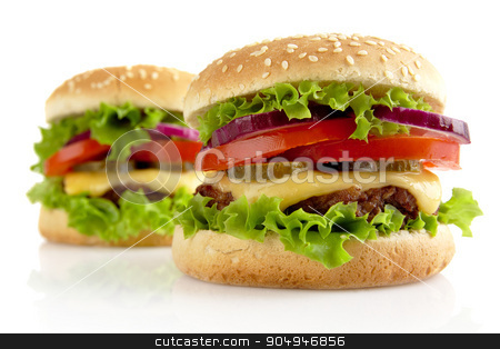 Big cheeseburgers isolated on white background stock photo, Big single cheeseburgers isolated on white background by Tadeusz Wejkszo