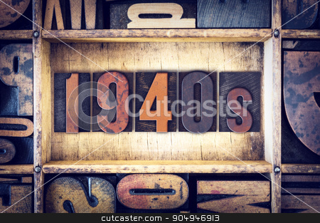 1940s Concept Letterpress Type stock photo, The word