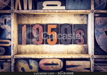1950s Concept Letterpress Type stock photo, The word