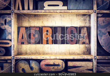 Africa Concept Letterpress Type stock photo, The word
