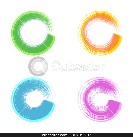 Brush stroke round design elements stock vector clipart, Colorful vector brush stroke round design elements collection by blumer