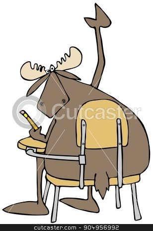 Moose student with a question stock photo, Illustration depicting a bull moose sitting at a student desk and raising his arm with a question. by Dennis Cox
