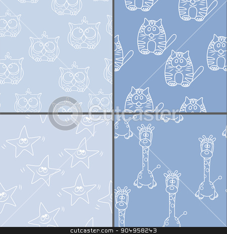 Set Funny Seamless pattern with cat, giraffe, owls. Baby vector pattern. Cartoon vector seamless wallpaper stock vector clipart, Set Funny Seamless pattern with cat, giraffe, owls. Baby vector pattern. Cartoon vector seamless wallpaper by Vladimir Khapaev