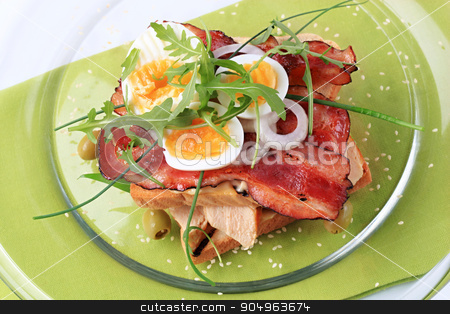 Delicious club sandwich  stock photo, Traditional club sandwich without the top slice by Digifoodstock