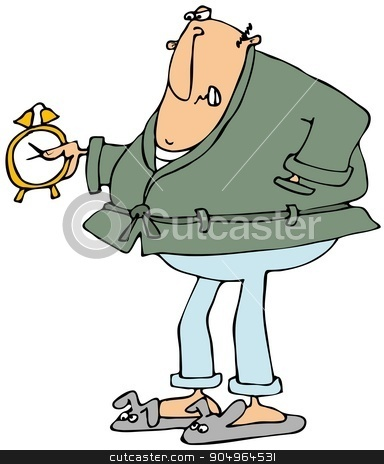 Upset man looking at alarm clock stock photo, Illustration depicting a man wearing pajamas and a bathrobe looking angrily at an alarm clock that he's holding. by Dennis Cox