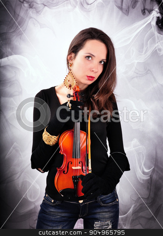 beautiful girl in black plays the violin stock photo, beautiful girl in black  plays the violin by Mykola Sinkevych