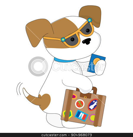 Cute Puppy Travel stock vector clipart, An adorable spotted puppy is getting ready to travel. She has a suitcase in one hand and a passport in the other by Maria Bell
