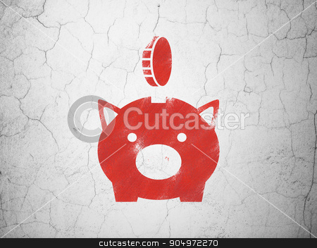 Currency concept: Money Box With Coin on wall background stock photo, Currency concept: Red Money Box With Coin on textured concrete wall background by mkabakov