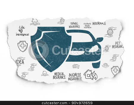 Insurance concept: Car And Shield on Torn Paper background stock photo, Insurance concept: Painted blue Car And Shield icon on Torn Paper background with  Hand Drawn Insurance Icons by mkabakov