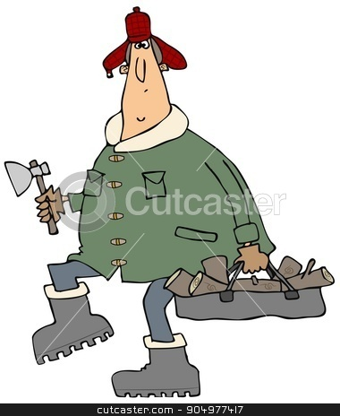 Man carrying firewood stock photo, Illustration depicting a man wearing winter clothing carrying firewood and an axe. by Dennis Cox