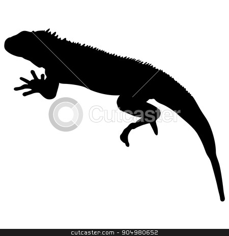 Lizard is goanna silhouette on a white background. Vector illustration stock vector clipart, Lizard is goanna silhouette on a white background. Vector illustration. by aarrows