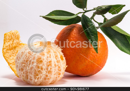 Peeled Tangerine and Tangerine stock photo, Tangerine and peeled tangerine on white background. by Alfredo Steccanella