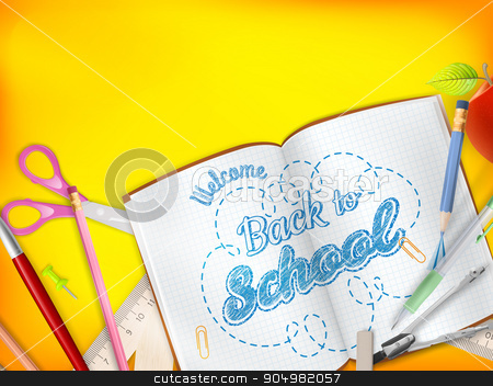 Back to School marketing background. EPS 10 stock vector clipart, Back to School marketing background for greeting card, ad, promotion, poster, flier, blog, article, social media, marketing. EPS 10 vector file included by Vladimir Petrov
