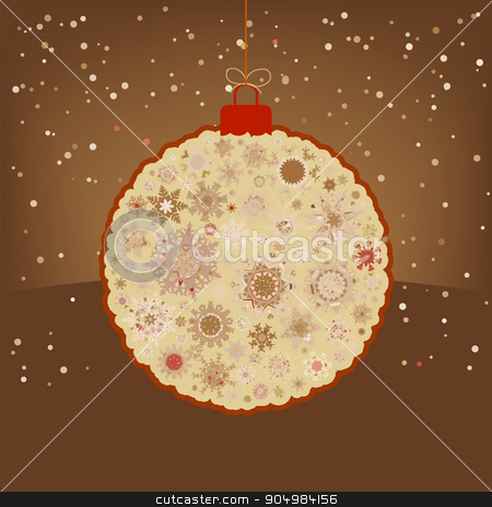 Christmas retro color simple brown card. EPS 8 stock vector clipart, Christmas ball made from retro color simple snowflakes on brown. EPS 8 vector file included by Vladimir Petrov