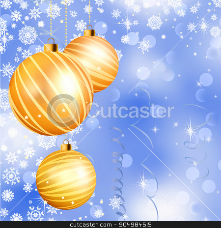 Christmas ball on abstract blue lights. EPS 8 stock vector clipart, Christmas ball on abstract blue lights background. EPS 8 vector file included by Vladimir Petrov