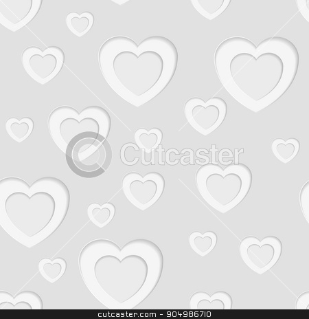 Grey seamless paper pattern with hearts stock vector clipart, Grey seamless paper pattern with hearts. Vector background by saicle