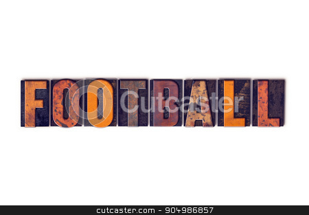 Football Concept Isolated Letterpress Type stock photo, The word