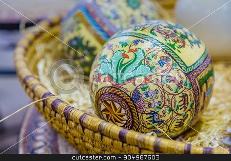 Easter painted eggs stock photo, The eggs are covered with fine mosaics on biblical themes. Closeup by Sid10