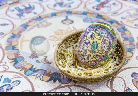 Easter painted eggs stock photo, The eggs are covered with fine mosaics on biblical themes by Sid10