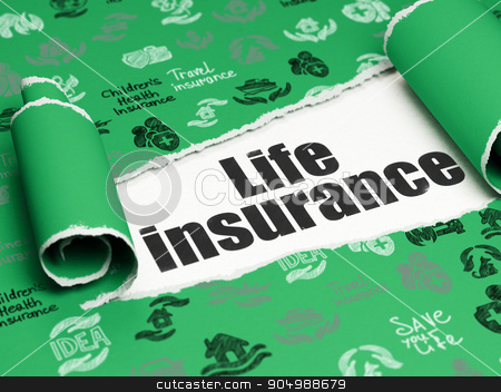 Insurance concept: black text Life Insurance under the piece of  torn paper stock photo, Insurance concept: black text Life Insurance under the curled piece of Green torn paper with  Hand Drawn Insurance Icons by mkabakov